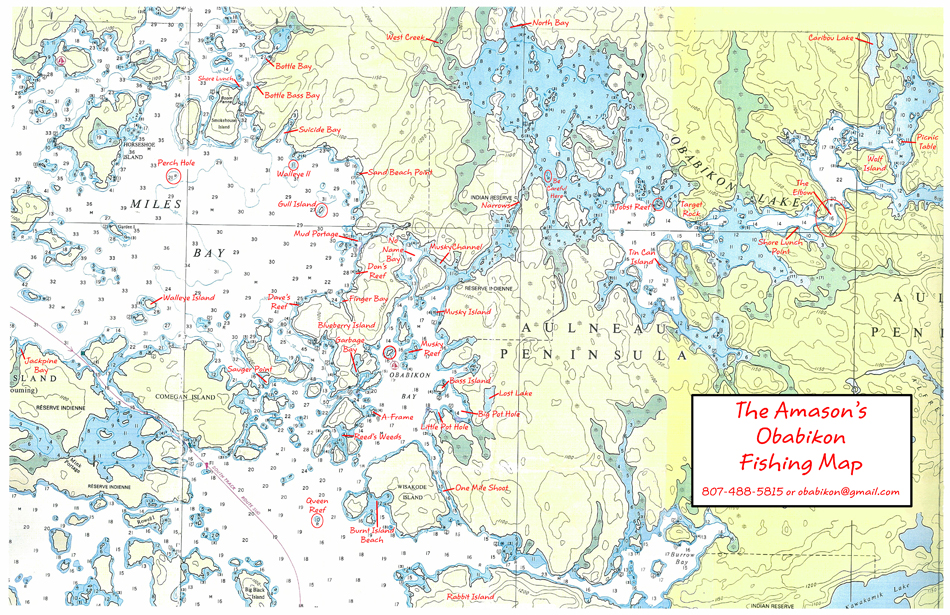 Map Of Lake Of The Woods Ontario Lake of the Woods Fishing Map | Obabikon Bay Camp, Morson Ontario